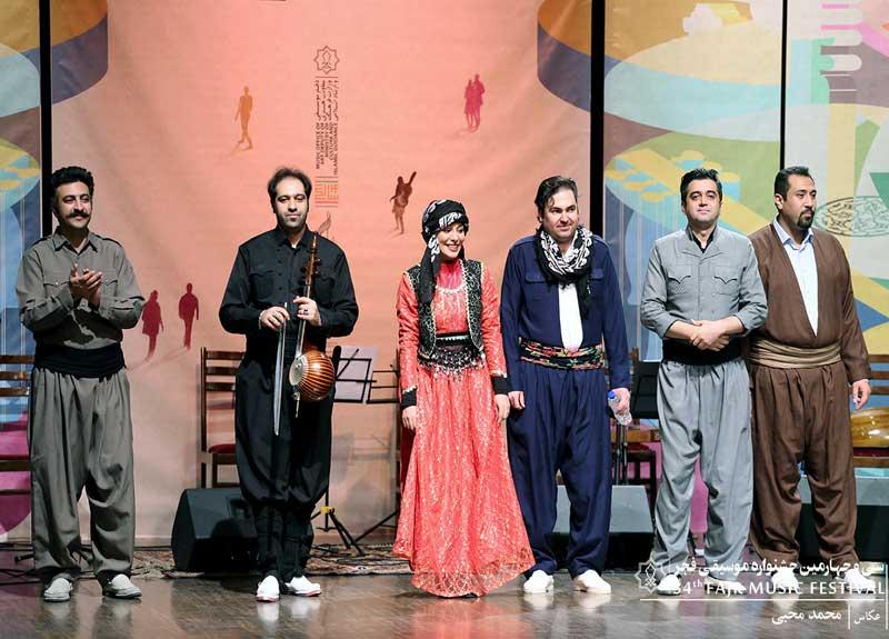 اجرای موسیقی و حرکات آیینی کردی در چهارمین شب جشنواره