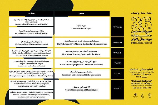جدول بخش پژوهش سی و ششمین جشنواره موسیقی فجر منتشر شد